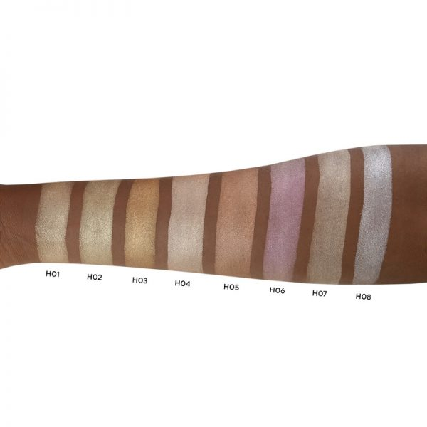 highlighter swatches on black skin