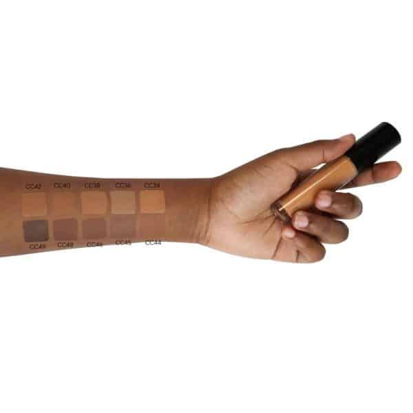 liquid concealer swatch on black skin